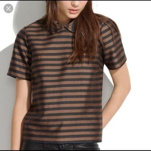 Madewell Curved Peter Pan Collar Striped Top